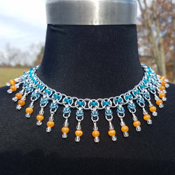 Orange Catseye Byzantine Drops with Teal Helm Collar Necklace