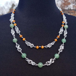 Green Stone and Orange Catseye Double Strand