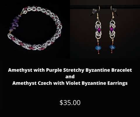 Amethyst with Purple Stretchy Byzantine Bracelet and Amethyst Czech with Violet Byzantine Earrings