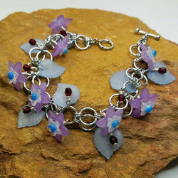 Purple Lucite Flowers with Blue Leaves