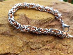 Copper and Bright Aluminum Byzantine Bracelet