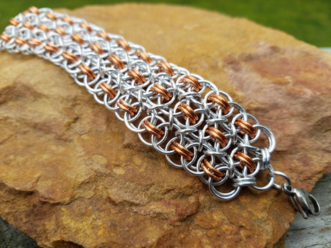 Copper and Bright Aluminum Conundrum Cuff
