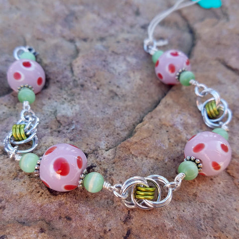 Pink Polka Dot Glass with Lime Helm