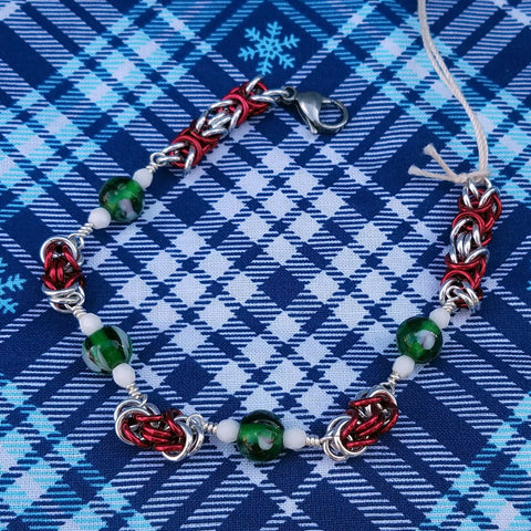 Green lampwork with Red Byzantine