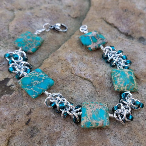 Blue-dyed Imperial Jasper beaded shaggy