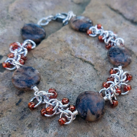 Brown jasper with beaded shaggy