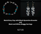 Black/Grey Clay with Black Byzantine Bracelet and Black and White Shaggy Earrings