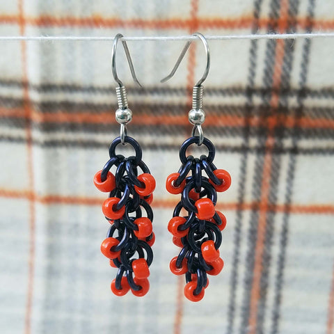 Black and Orange Beaded Shaggy Earrings
