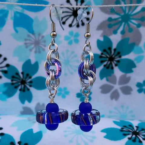 Purple Cane Glass with Sea Glass