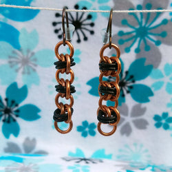 Copper and Black Barrel Earrings