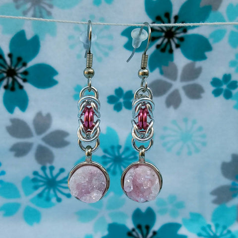 Pink Druzy with Hot Pink Byzantine