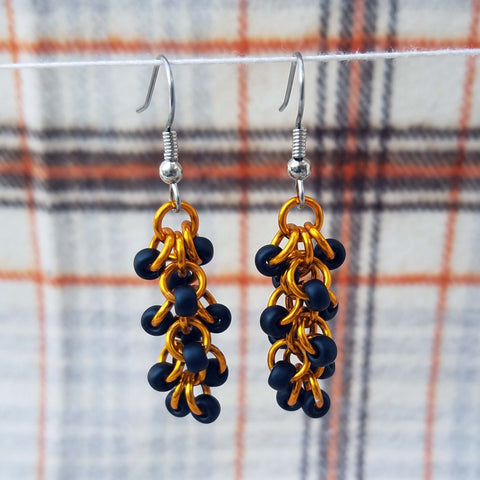Orange and Black Shaggy earrings
