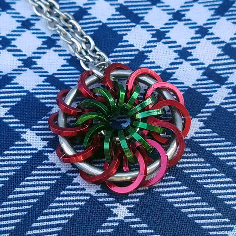 Red and Green Pinwheel Pendant
