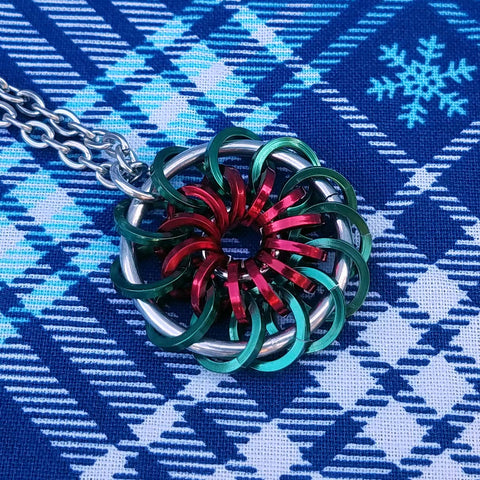 Green and Red Pinwheel Pendant
