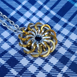 Gold and Silver Pinwheel Pendant
