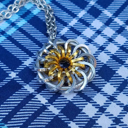 Silver and Gold Pinwheel Pendant