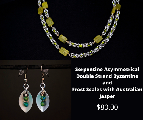 Serpentine Asymmetrical Double Strand Byzantine and Frost Scales with Australian Jasper