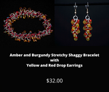 Amber and Burgundy Stretchy Shaggy Bracelet with Yellow & Red Drop Earrings