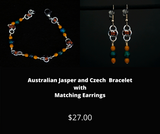 Australian Jasper and Czech Bracelet with Matching Earrings