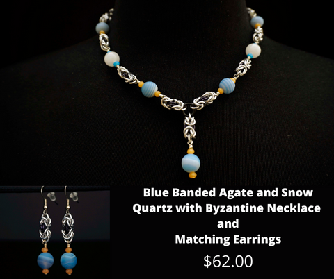 Blue Banded Agate and Snow Quartz with Matching Earrings