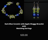 Dark Blue Ceramic with Apple Shaggy Bracelet and Matching Earrings