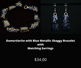 Dumortierite with Blue Metallic Shaggy Bracelet and Matching Earrings.