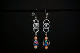Blue Shell and Rose Lampwork with Helm and 2 pairs of Matching Earrings