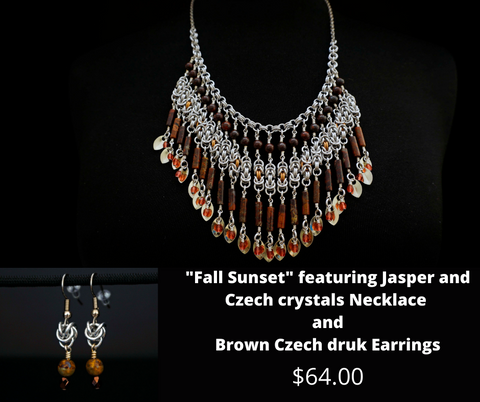 """Fall Sunset"" featuring Jasper and Czech Crystal Necklace with Brown Czech Druk Earrings"