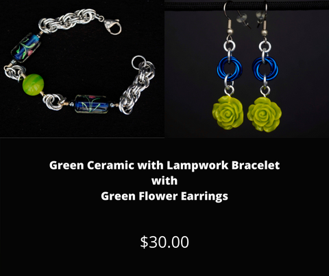 Green Ceramic with Lampwork Bracelet and Green Flower Earrings