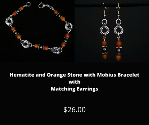 Hematite and Orange Stone with Mobius Bracelet and Matching Earrings
