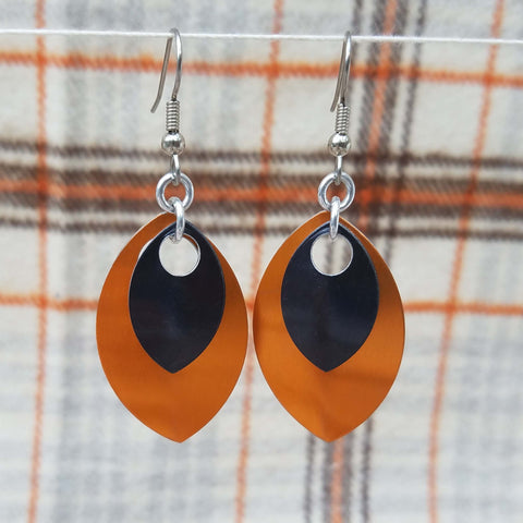 Orange and Black Scale earrings