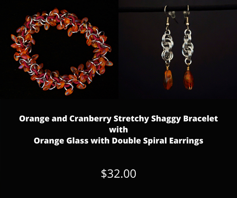 Orange and Cranberry Stretchy Shaggy Bracelet with Orange Glass Earrings