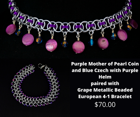 Purple MOP Coin and Blue Czech with Purple Helm paired with Grape Metallic Beaded Bracelet