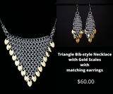 Triangle Bib-Style Necklace with matching earrings