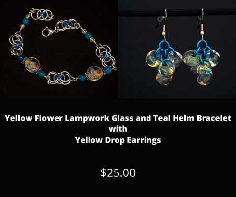 Yellow Flower Lampwork Glass and Teal Helm Bracelet with Yellow Drop Earrings.