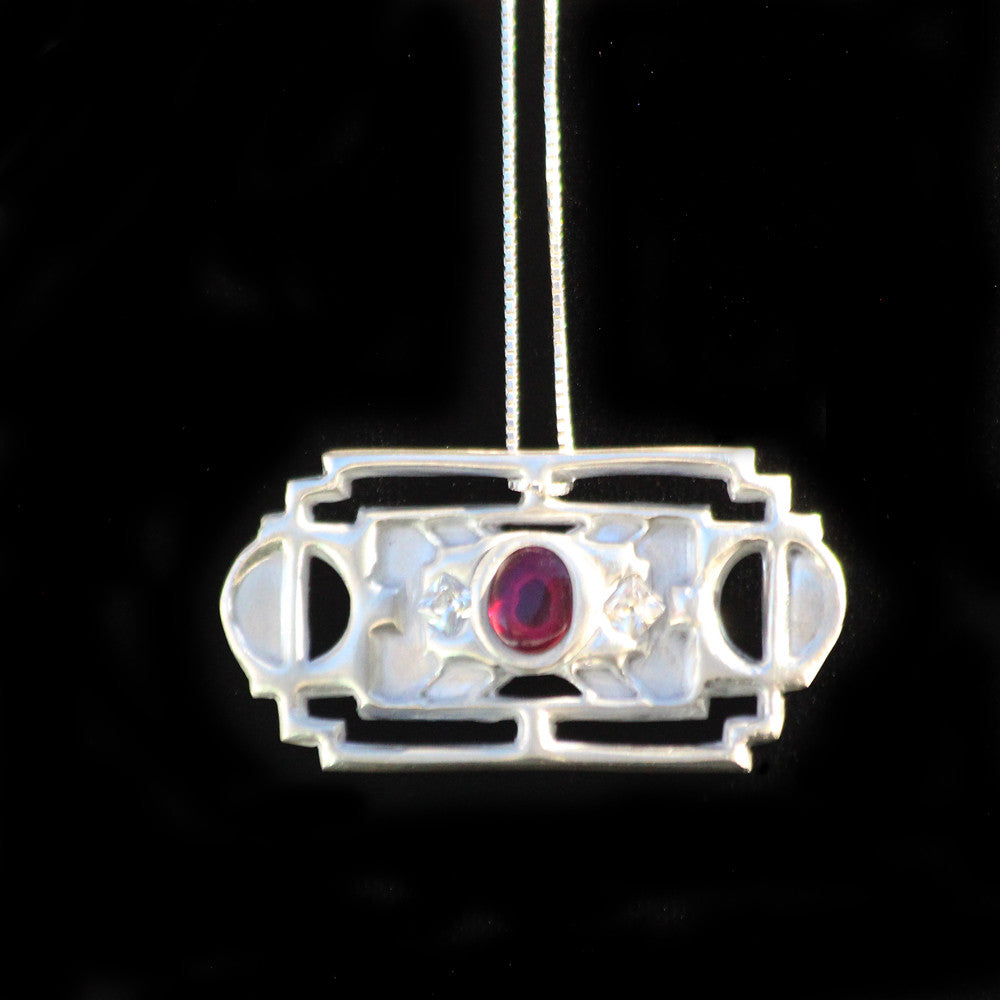 Elation Square Red and White Pendant