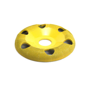 "4"" Donut Wheel W/ Holes Round Face (Fine Grit) 7/8"" Bore Yellow DW450H"