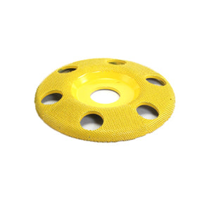 "4"" Disc Wheel W/ Holes Flat Face (Fine Grit) 7/8"" Bore Yellow SD450H"