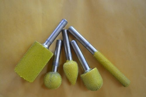 5 PC Saburr Tooth Carbide Burrs 1/4 inch shaft Yellow 14C14 14BN58 14C34 14F12 14S58