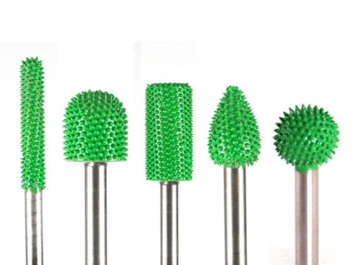 5 PC Saburr Tooth Carbide Burrs 1/4 inch shaft Green 14C14-14BN58-14C34-14F12-14S58