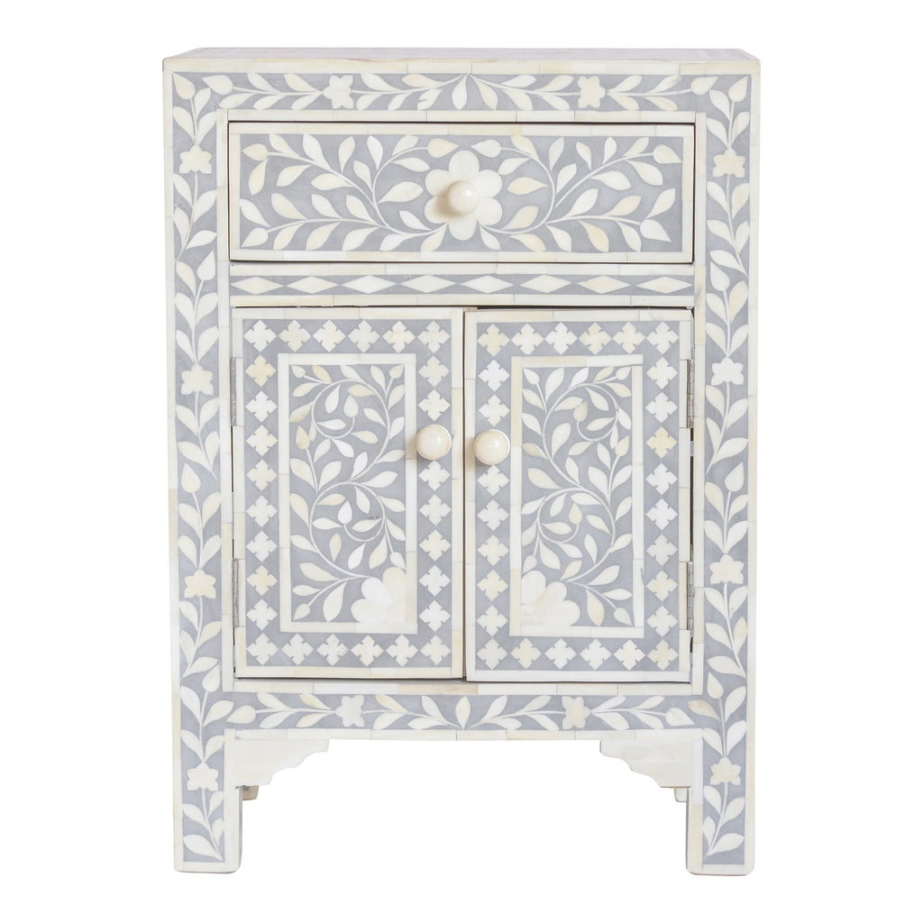 Bone Inlay Bedside Cupboard  in Grey Floral
