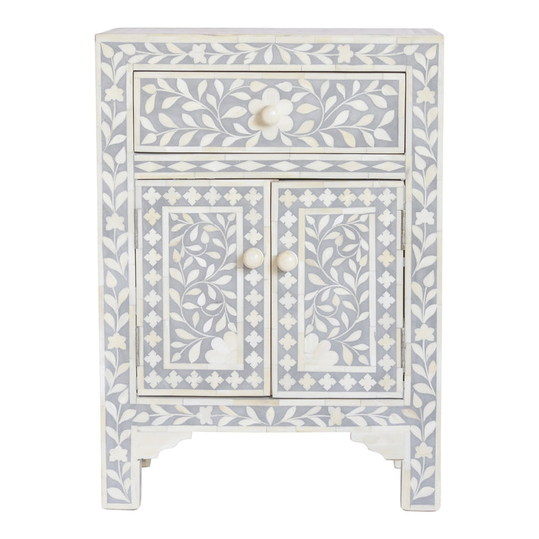 Bone Inlay Bedside Cupboard | Grey Floral