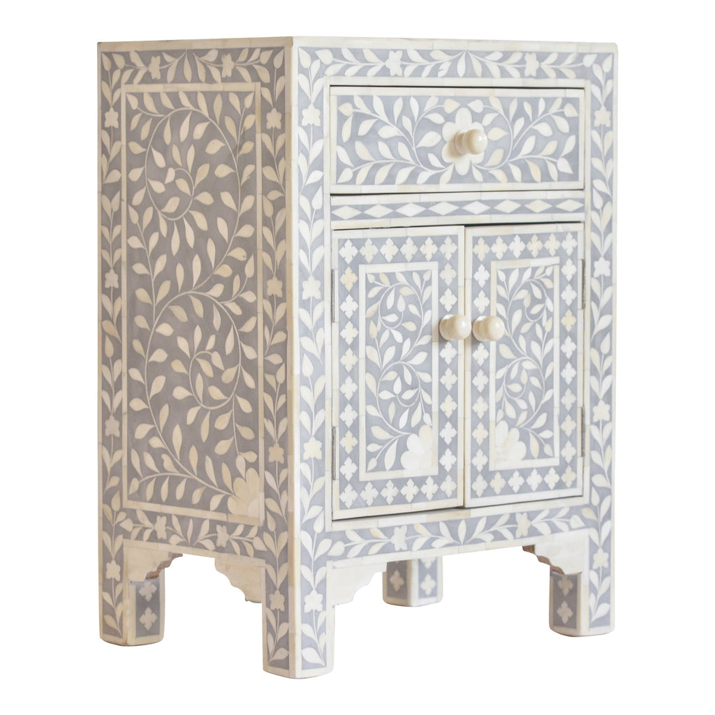 Bone Inlay Bedside Storage in Grey Floral