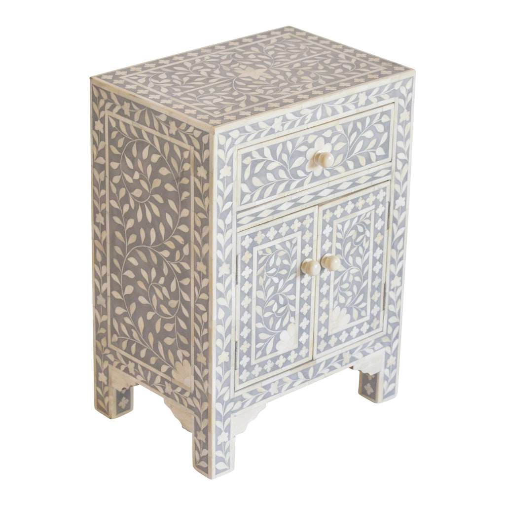 Bone Inlay Bedside Cupboard in Grey
