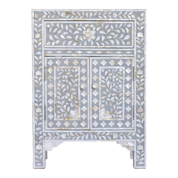 Mother of Pearl Bedside Cupboard | Light Grey Floral