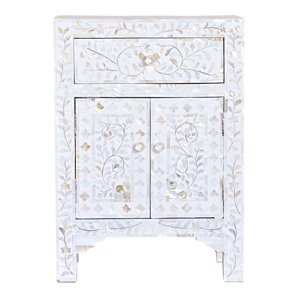 Mother of Pearl Bedside Cupboard in White