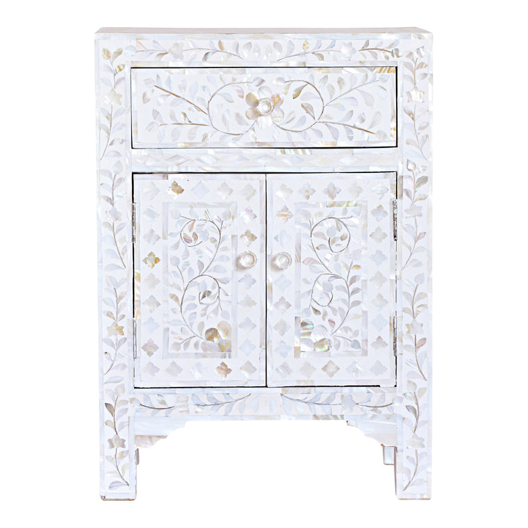 Mother of Pearl Bedside Cupboard | White Floral