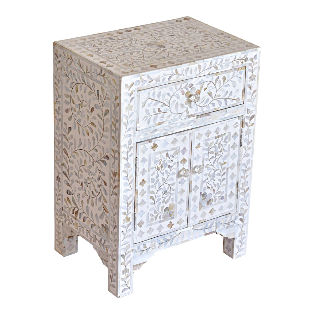 Mother of Pearl Bedside Cupboard in White Floral