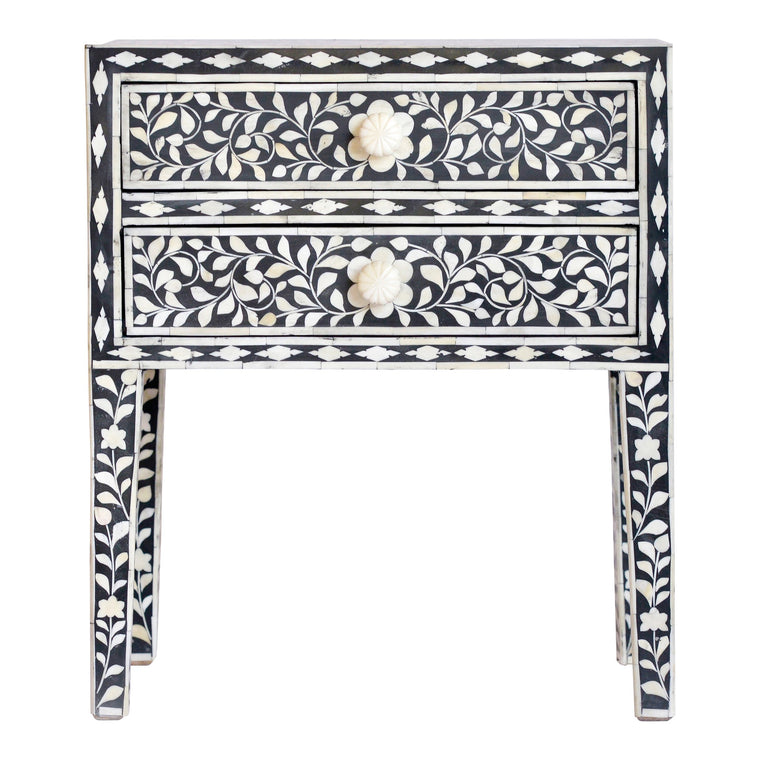 Bone Inlay Bedside Table | Black Floral