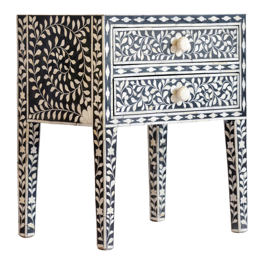 Bone Inlay Bedside Table in Black Floral